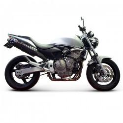 Silencieux Termignoni homologué alu Honda CB 600 Hornet 2003-2006, illustrations version silencieux carbone, référence H061080CO