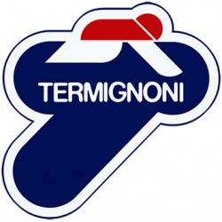 Plaque logo Termignoni dimension 75x75mm et 3 rivets borgnes alu