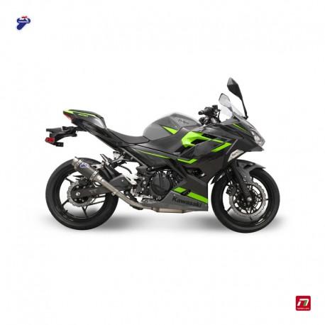 Slip on exhaust Termignoni round full carbon for Kawasaki Z 400 Ninja 400 2018-2019