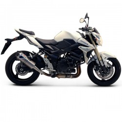 Silencieux Termignoni homologué look carbone Suzuki GSR 750 2011-2016, illustration version inox (ref. S069080IV)