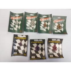 Pack de 5 écrous Nylstop en Aluminium M5, M6 ou M8 anodisés argent, or, rouge, violet